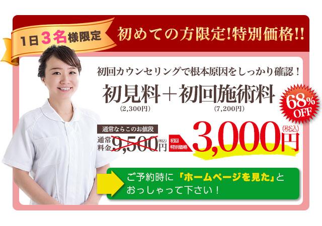 通常料金9500円のところ初回特別価格3000円